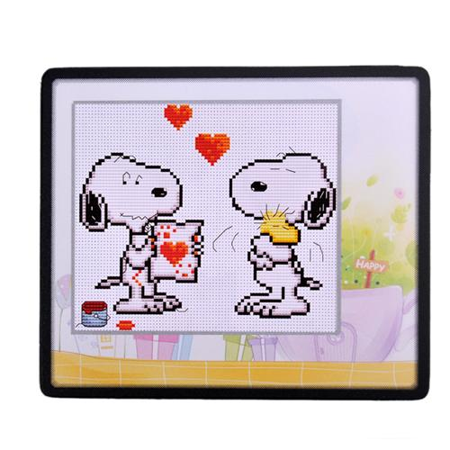 Cross stitch mouse pad love SNOOPY -(China (Mainland))