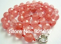 10mm Faceted Watermelon Tourmaline Gem Necklace 18  Fashion jewelry