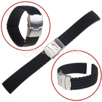 Free Shipping Black Silicone Rubber Watch Strap Band Deployment Buckle Waterproof 20mm