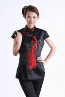 "Black New Chinese Women's Rayon Silk satin Shirt Blouses red phenix S M L XL XXL XXXL "" LGD A0001 """