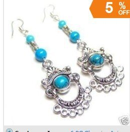 5PC Charming Asian Fancy Tibet silver Turquoise Earrings Free shipping(China (Mainland))