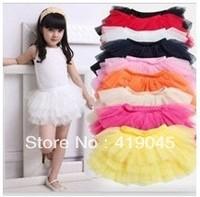 Free Shipping Baby Girls Falbala Ruffles TUTU Skirt Red,Pink,Black,White,Yellow,Orange 4pcs/lot Princess layered Skirt-1151