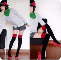 free shipping muticolor block decoration over-the-knee socks stockings female thick black women's stocking G230 c