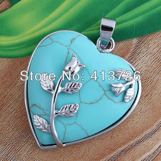 wholesale 10Pcs Charm Created Turquoise Stone Heart Form Leaf Bead Focal Pendant Jewelry For Necklace(China (Mainland))