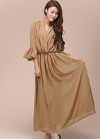 2013 Summer Boho beach hawaiian smocked maxi long dress + vest Dresses 2 pcs. S M L Three Quarter Flare Sleeve