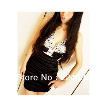 Freeshipping 2013 Strapped V-Collar Sexy Slim Figure Women Dress X000100RBS
