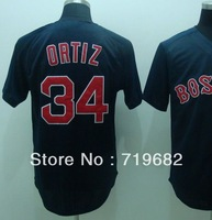 Free Shipping Boston #34 David Ortiz Men's Baseball Jersey,Embroidery and Sewing Logos,Size M--3XL,Accept Mix Order
