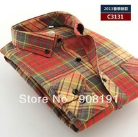Spring shirt, men's fashion leisure wear wool plaid han edition cultivate one's morality men's long sleeve shirt