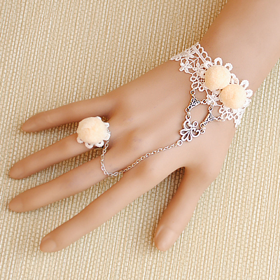 Diy hair bulb white bracelet wedding romantic vintage lace strap ring(China (Mainland))
