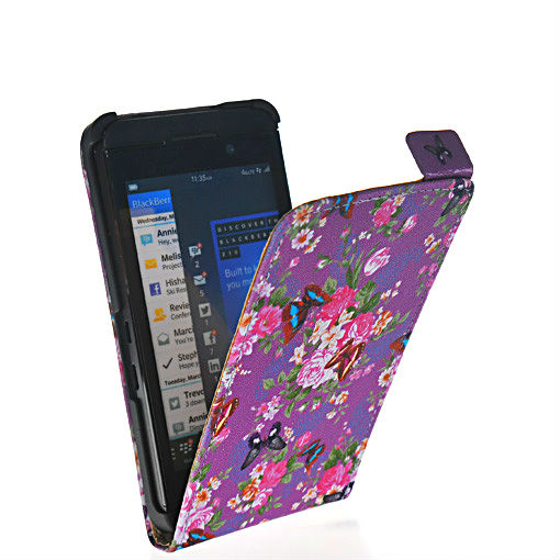 Modern mobile phone shell flower style leather flip pouch case cover FOR Blackberry Z10 London, Surfboard, L-Series, L10 86(China (Mainland))