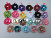 Free Shipping!200pcs/lot DIY flower WITHOUT CLIP,Satin Ribbon Multilayers Flower With Pearl,Girl&#39;s Hair Accessories
