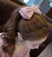 Woolen velvet bow hair accessory hair accessory clip hairpin side-knotted clip accessories spring clip