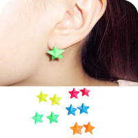 0373 Min order is $8 ( mix order ) Fashion Jewelry Vintage Exaggerated Fluorescence Candy Color Stars Stud Earrings
