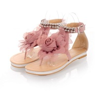 2013 Biggest Promotion!!!new arrival sweaty women flat sandals with flower on top beading strip free shipping