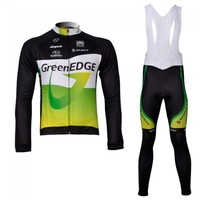 Winter clothes! 2013 GREENEDGE Winter long sleeve cycling jerseys+bib pants bike bicycle thermal fleeced wear+Plush fabric!