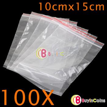 100 X Jewelry Ziplock Plastic Poly Clear Bags 10CM 15CM [5255|01|1H]