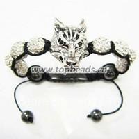 Free shipping! silver tone Wolf head bracelet Shamballa Bracelet, Wholesales Shamballa
