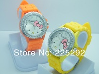 free shipping!!!  5pcs Diamond crystal Hello kitty Silicone Band Quartz Wrist Watch For Unisex Gift Available