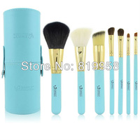 Free Shpping!! EMILY 1set/lot Makeup Tool Professional Makeup Cosmetic Brush Kits Set 7 pcs Blue Makeup Brush Round Case Bag