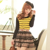 2013 women's slim  Striped ,Full,O-Neck thin sweaters,free shipping