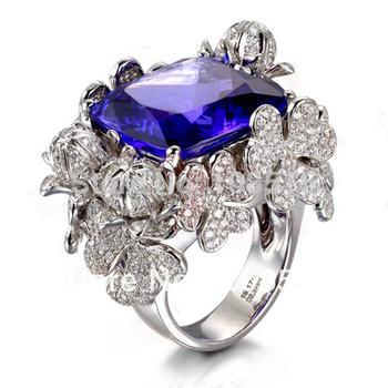 Derongems_aaa танзанит сапфир Rings_Fashion кольцо с 925 ленты покрытием белого gold_Manufacturer непосредственно продаж