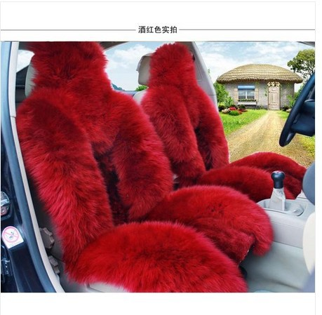 sheepskin car seat covers 2pcs front driver seat covers car cushion sheepskin red color(China (Mainland))