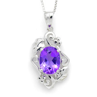 Free Shipping Sterling Silver Jewelry 925 silver natural amethyst pendant  Vintage 100% Silver Jewelry min mix wholesale