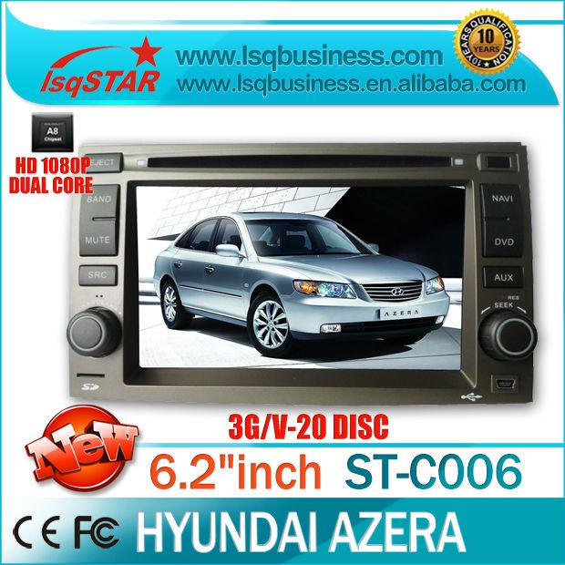 For Hyundai Azera Car DVD player with GPS IPOD iphone Dual Core/ A8 Chipset/ BT Radio PIP TV 3G New Hot(China (Mainland))