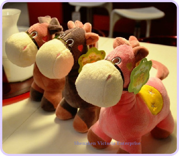 12PCS Plush Stuffed TOY ; 2013 NEW Horse Animal DOLL ; Small Height 17CM Figure Plush TOY Car & Room Strap Pendant
