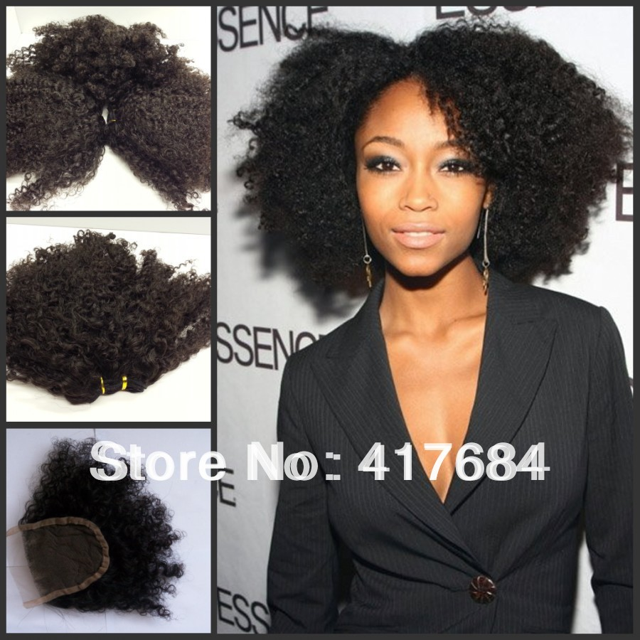 Free shipping 3 weft and 1 closure natural black 1b no dye can be dyed afro kinky curly cambodian virgin hair(China (Mainland))