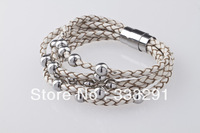 wholesale customize high-quality Men's Womens real Leather charm titanium Stainless Steel Clasp Bracelet LR12
