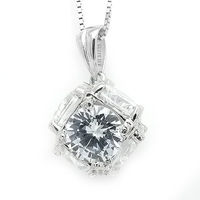 Free Shipping Sterling Silver Jewelry 925 silver zircon pendant stereo  2013 Fashion Silver Jewelry for women  On Sale