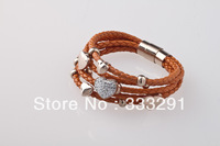 wholesale plated 18K rose gold bracelet customize high-quality real Leather charm titanium Stainless Steel Clasp Bracelet LR7