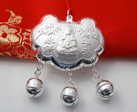 Free Shippiing Sterling Silver  2013 New Jewelry 11 99 pure silver baby longevity lock  Silver Jewelry for baby