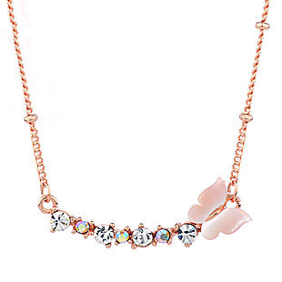 Rhinestone butterfly short design alloy necklace sallei natural rose gold chain gentlewomen jewelry(China (Mainland))