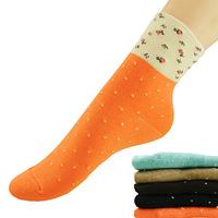 Free Shipping bamboo fibre in tube socks, jacquard polka dot women's socks,10 pairs/lot free size