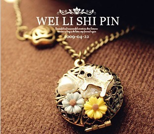 fashion accessories vintage cutout box daisy cat necklace