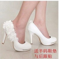 Lace flower female bridesmaid shoes wedding shoes wedding shoes bridal shoes wedding shoes white high-heeled shoes formal dress