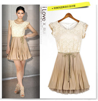 New  fashion  womens court style retro lace chiffon patchwork short sleeves slim fit pleated vest  casual  dress with belt