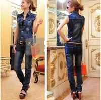 New arrival 2013 personalized vest low-waist trousers denim jumpsuit with belt