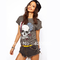 2013 summer women Occident roses skull American flag Printing cuff rivets short-sleeve cotton t-shirt 6 size Free shippping