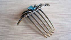 Free shipping bling shinning blue rhinestones hair combs headwear hairwear copper NO rust good quality and service(China (Mainland))