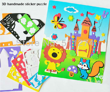 Children's handmade EVA stickers, cardboard 3D jigsaw puzzle, DIY art and craft materials.20 styles.Free shipping