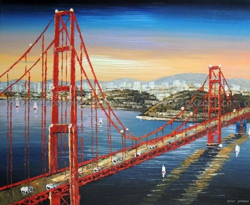 100% hand painted Golden Gate Bridge Orange Sunrise San Francisco Bay decoration Oil Painting free shipping High quality(China (Mainland))