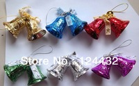 1.5 INCH SHINY COLOR PATTERN CHRISTMAS TREE DECORATION ORNAMENTS 6 PAIRS SET LOT