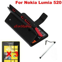 New Slim Wallet Stand Case Mobile Phone Leather case + Screen Protector + Pen For Nokia Lumia 520