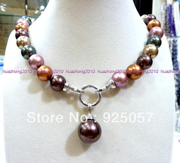 "12MM 18 ""LONG, MULTI COLOR the SEA the SHELL the PEARL NECKLACE PendantFashion jewelry"