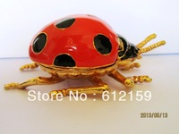 2013 Hot fashion gift new design high quality hand made Ladybug trinket jewelry box