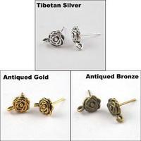YBB 7.5x14mm Antiqued Silver Gold Bronze Flower Stud Post Earrings Findings P601