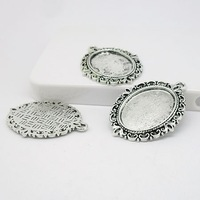 10pcs/lot vintage silver filigree cameo cabochon base setting pendant tray 18*25mm Jewelry Blanks